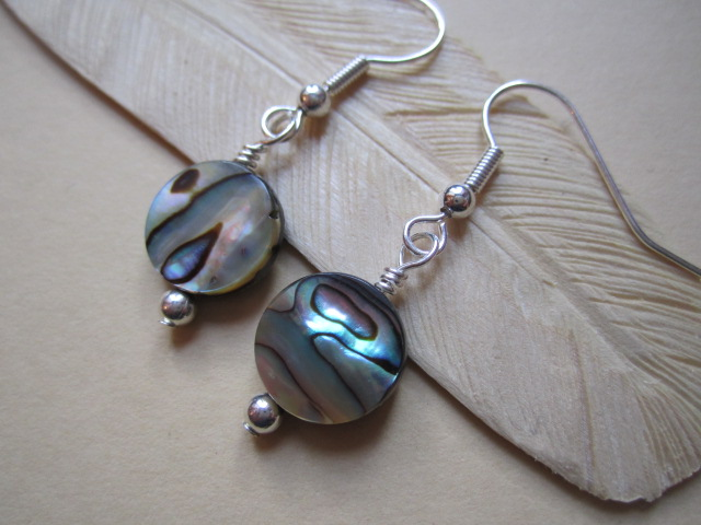 Paua Shell Abalone Ethic Style Round Circular Silver Plated Earrings