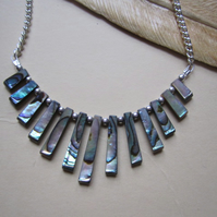 Abalone Paua Shell Fan Silver Plated Lagenlook Bib Necklace-Femnine