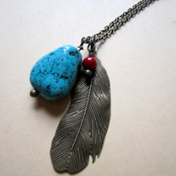 Large Bronze Tone Feather Pendant Necklace Genuine Turquoise & Coral