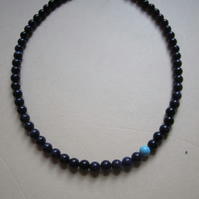 Blue Goldstone Off Centre Turquoise Bead Necklace Unique Design Sterling Silver