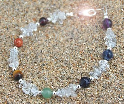 New Design-Chakra & Rock Crystal Bracelet -Sterling Silver