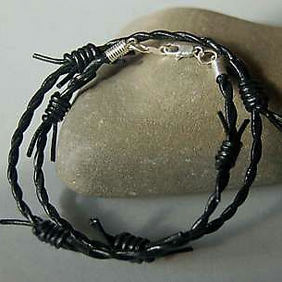 Leather Barbed Wire Wrap Surf Bracelet or Necklace Silver Plated