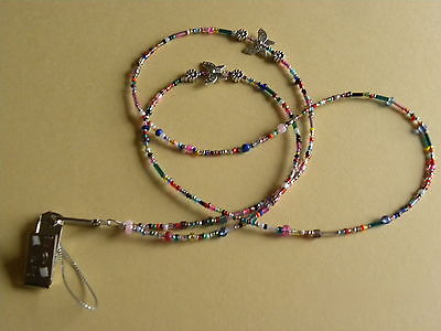 Multi Coloured Butterfly and Flowers Beaded Bead Lanyard many uses