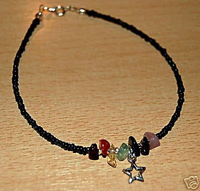 Black Beaded Chakra Anklet With Tibetan Silver Star