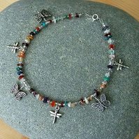 Dragonfly, Butterfly Mixed Gemstone Anklet-each unique