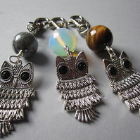 Articulated Moving Owl Choice of Gemstone Bag Charm  Keyring Each Unique