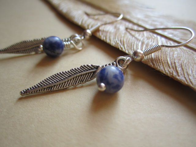Denim Lapis Gemstone with Feather Silver Plated Earrings South Western Style