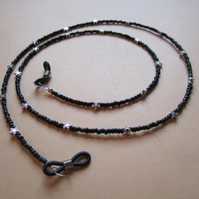 Spectacle Glasses Chain Black Glass Beads With Tibetan Silver Stars