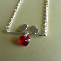 Pretty Silver Plated Love Birds on Branch with Swarovski Crystal Heart Necklace
