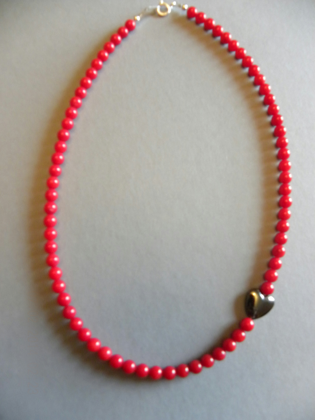 Genuine Red Coral Beaded Necklace Hematite Heart Stunning Unique Sterling Silver