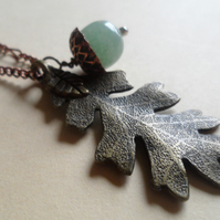 Amazonite Gemstone Acorns Large Oak Leaf Copper Cups and 24 Inch Necklace OOAK
