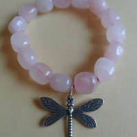 Chunky Rose Quartz Nuggets Pewter Highly Detailed Dragonfly Pendant Elasticated
