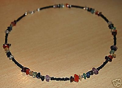 Chakra Necklace Choker Genuine Gemstones Black Beads Sterling Silver Clasps