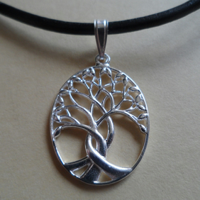 Sterling Silver Twisted Tree of Life Pendant Leather Necklace or Sterling Chain