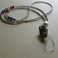 Silver Double Chakra Beaded Bead Lanyard many uses