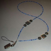 Abalone & Multi Blue Bead Beaded Lanyard-Multi uses Keys Phone id tag