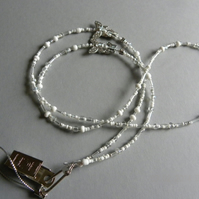 Silver White & Clear Butterfly Butterflies Beaded Bead Lanyard many uses