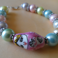 Pink Ceramic Russian Doll and Pastel Glass Pearl Beaded Bracelet-Cute