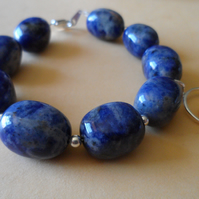 Chunky Sodalite Sterling Silver With Off Centre Bird Charm Statement Bracelet