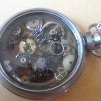 Steampunk Trapped Butterfly Steam Punk Vintage Pocket Watch Necklace Quirky