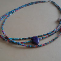South Western Style layered Necklace with Zuni Bear Fetish Beads Each Unique