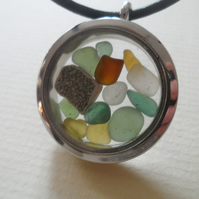 Sea Glass Sea Pottery Snowglobe Leather Necklace Each Unique