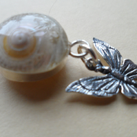Polished Sea Shell Set in Sterling Silver Betterfly Pendant Necklace OOAK