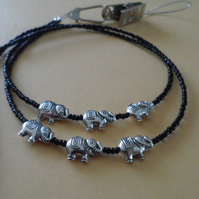 Black Beaded Parade of Elephants Lanyard Glass Spectacle Holder many uses