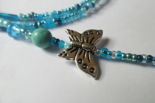 Blue Spectacle Chain With Butterfly Charms and Genuine Turquoise Gemstone Bead