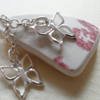 Sea Pottery Sterling Silver OOAK Butterfly Pastel Pink Necklace Very Feminine