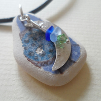 Greek Sea Pottery & Sea Glass Sterling Silver Moon Charm Leather Necklace