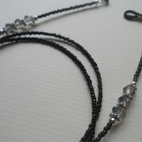 Spectacle Specs Glasses Chain Black Smoky Colour Crystal Detail