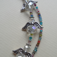 Multi Colour Bead Trio of Crystal Angels Lanyard Many Uses Glasses Spec Chain
