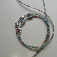Multi Colour Bead Parade of Elephants Lanyard Many Uses Glasses Specs Chain