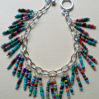 South Western Coloured Beaded Dangle Charm Bracelet Original Design