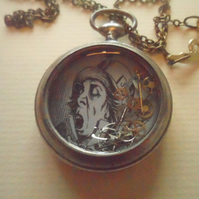 Steampunk Alice in Wonderland Mad Hatter Vintage Pocket Watch Necklace