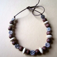 Ethnic Hippy Wood & Tibetan Silver Daisy Beads Surf Tie Bracelet Anklet Leather