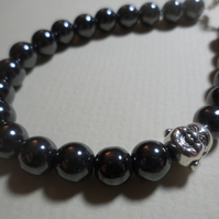 Chunky Hematite Gemstone Bracelet 8mm Beads Laughing Buddha Bead