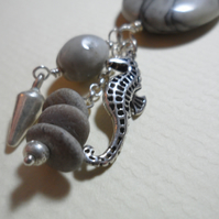 Sterling Silver Spider Agate Beach Pebbles Seahorse Charm Leather Necklace