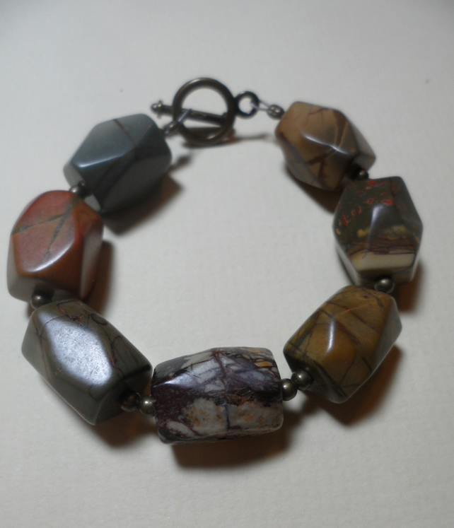 Extra Chunky Mookite and Brass Statement Bracelet OOAK