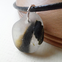 Genuine Black & White Bonfire Sea Glass Sterling Silver & Leather Necklace OOAK