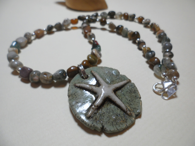 Fancy Agate  Necklace Featuring Bo Hulley Starfish Pendant Sterling Silver