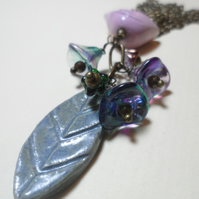 Pretty Ceramic Bead, leaf, Czech Flower Cluster Necklace