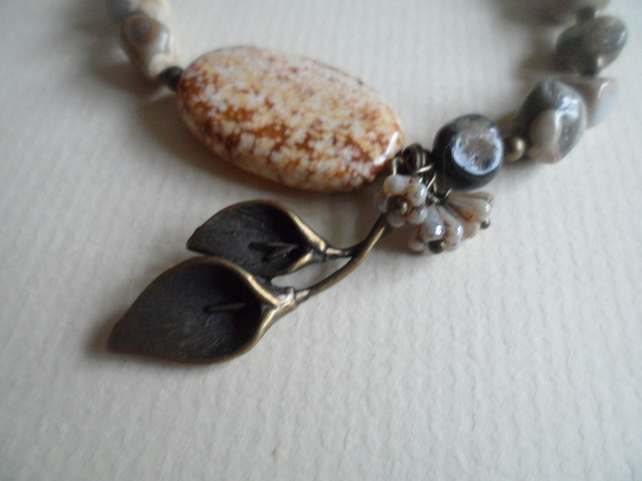 Sand Agate Czech Glass Flowers and Brass Calla Lily Charm Bracelet OOAK