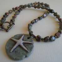 Fancy Agate  Necklace Featuring Bo Hulley Starfish Pendant Brass Beads