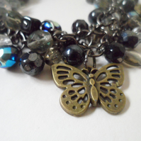 Gothic Garden OOAK Charm Bracelet Faceted Beads Black