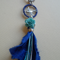 Royal Blue Wire Wrapped Necklace Sari Silk Tassel, Flying Swallow OOAK