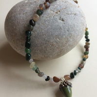 Indian Agate Anklet with Handcrafted Glass Acorn OOAK Sterling silver