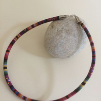 "Red ""Sunset "" Ethnic Woven 6mm thick Necklace"