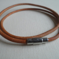 3mm Antique Natural leather wrap Bracelet GENUINE stainless Steel Clasp